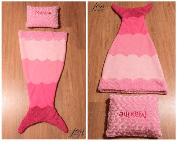 Mermaid Tail Blanket Ombre Pink Fleece Mermaid Tail by jessitup