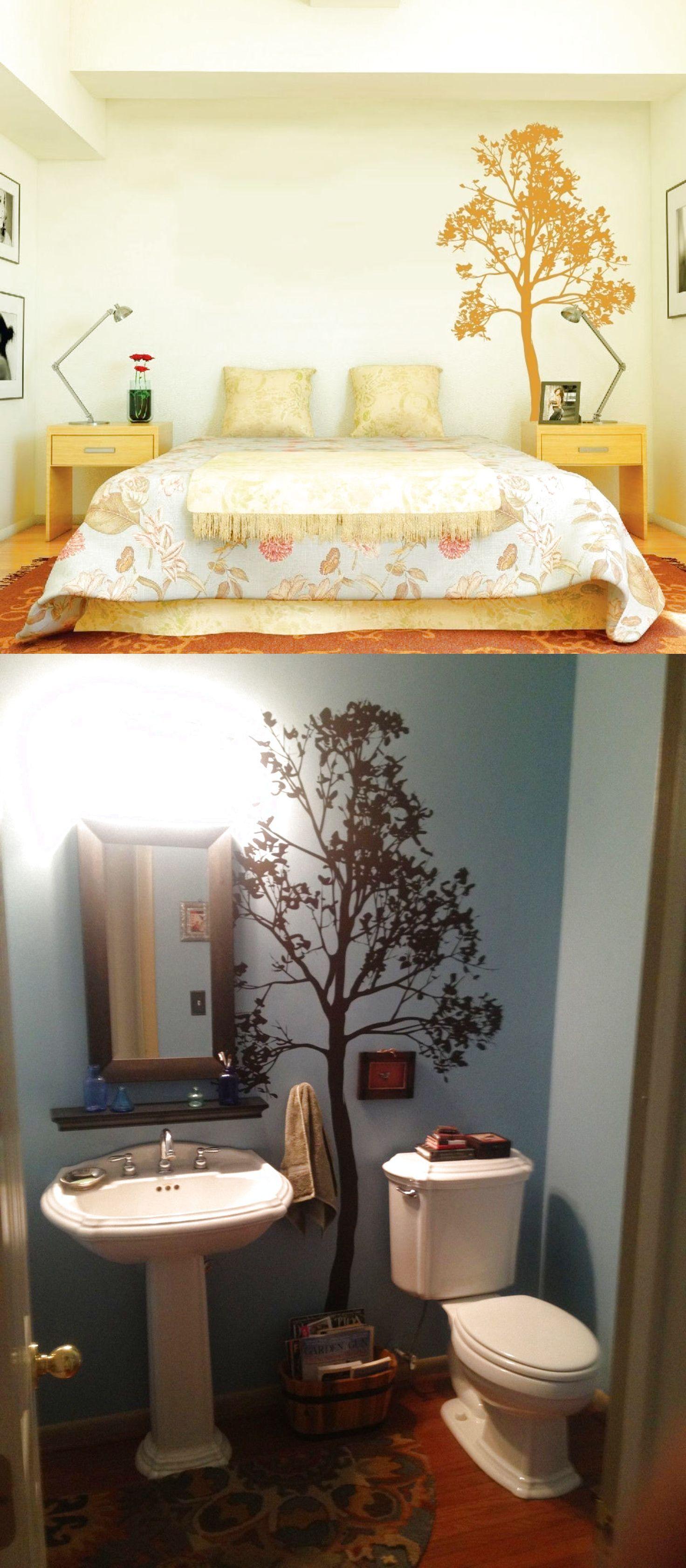 Simple tree large wall decal forest vinyl sticker nursery art