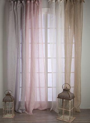Rideau voile de lin blanc mariclo brises bise stores - Idee deco rideaux voilages ...
