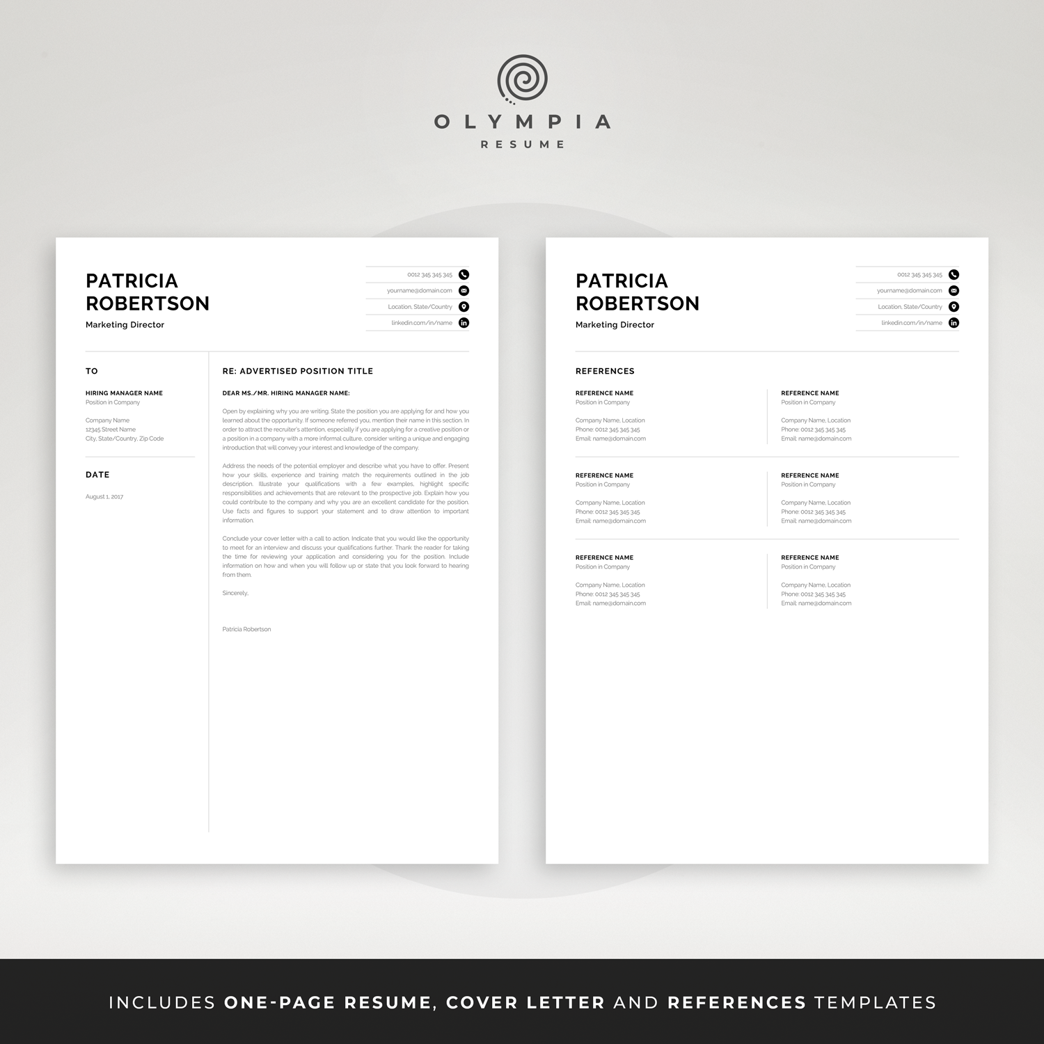 Professional 1 Page Resume Template