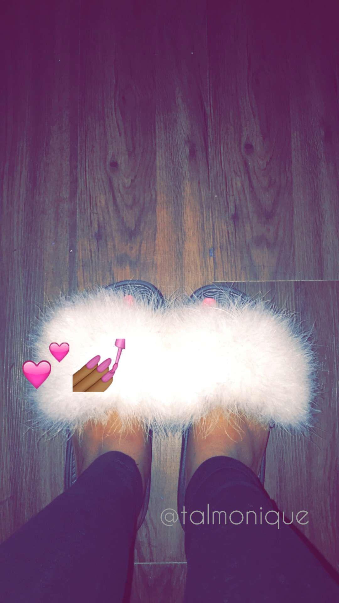 white faux fur slides  VivaLaShoessss in 2019