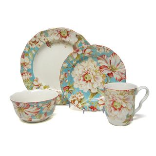222 Fifth Marley Teal 16-piece Porcelain Dinnerware Set | Decor ...
