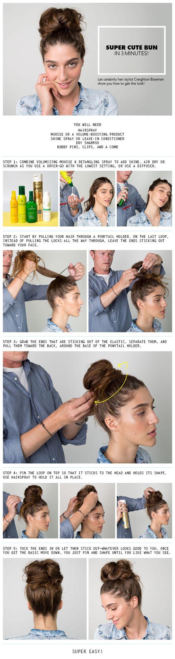 How to do a messy bun hairstyles bun haar ideeën pinterest