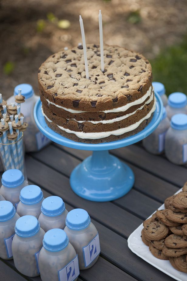Milk And Cookies Giant Cookie Cake Birthday Party