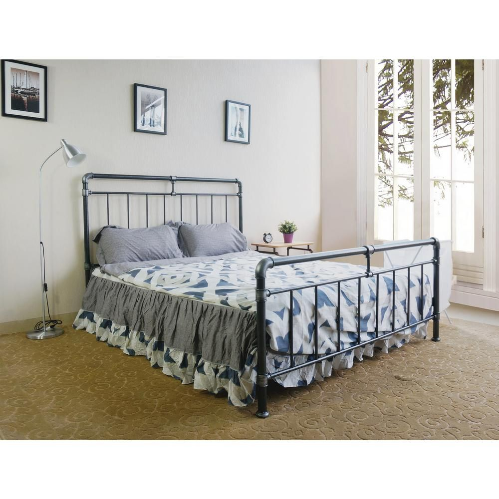 Rest Rite QueenSize Antique Metal Bed Frame with Wooden
