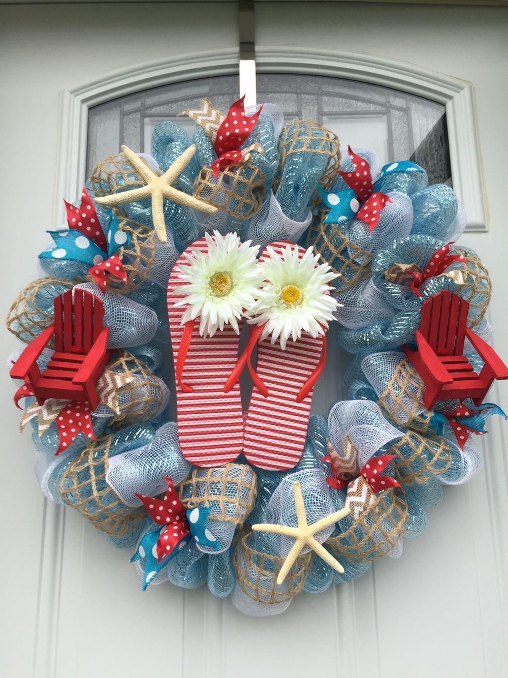 Summer Beach Theme Blue And Red Flip Flop Deco Mesh Wreath Gorgeous Wreaths Pinterest Red