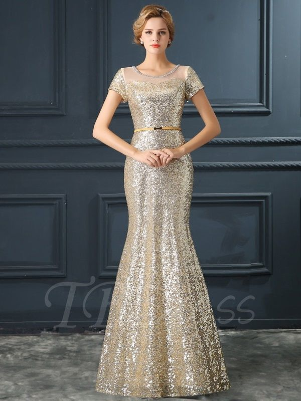 575271701eec7 Tbdress.com offers high quality Mermaid Scoop Short Sleeves Sequins Long  Evening Dress Elegant Evening Dresses unit price of $ 137.99.
