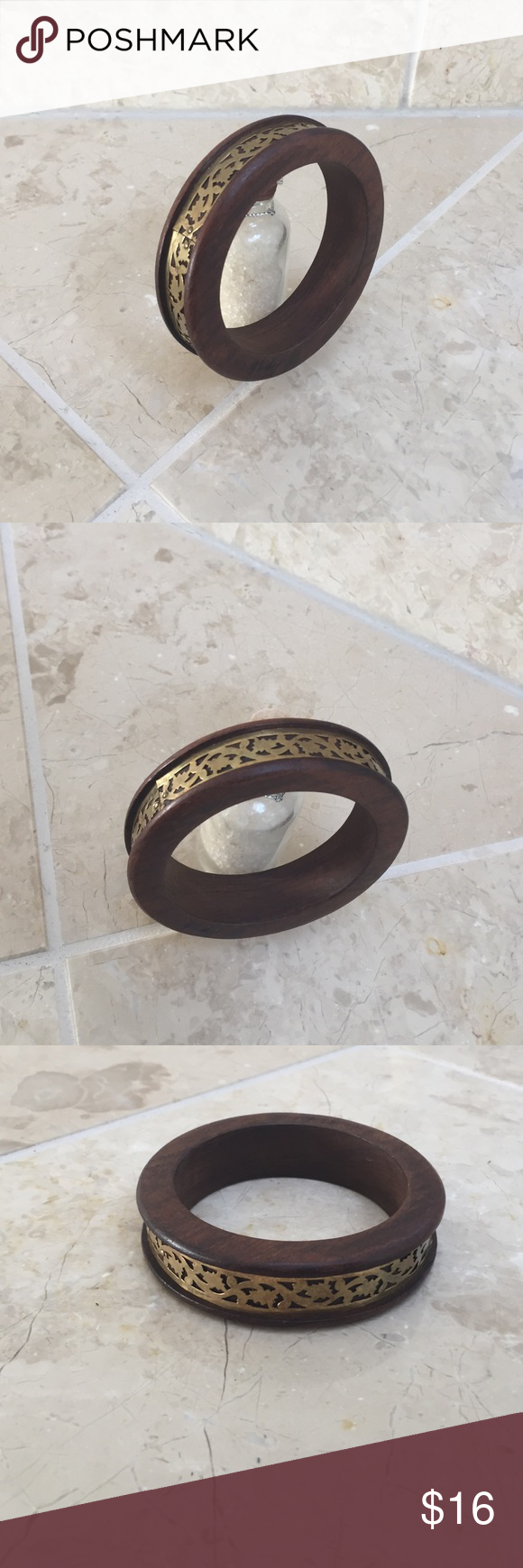 Gold and wooden bangle bracelet Exquisite wooden bangle with great detail and character. Bracelet is about 11 inches all the way around....2.5 inch diameter Jewelry Bracelets