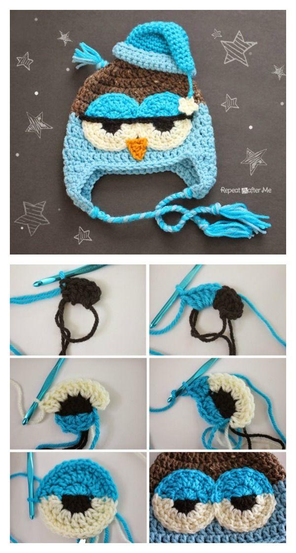 DIY Crochet Cute Drowsy Owl Hat | Fun Hats | Pinterest | Gorros ...