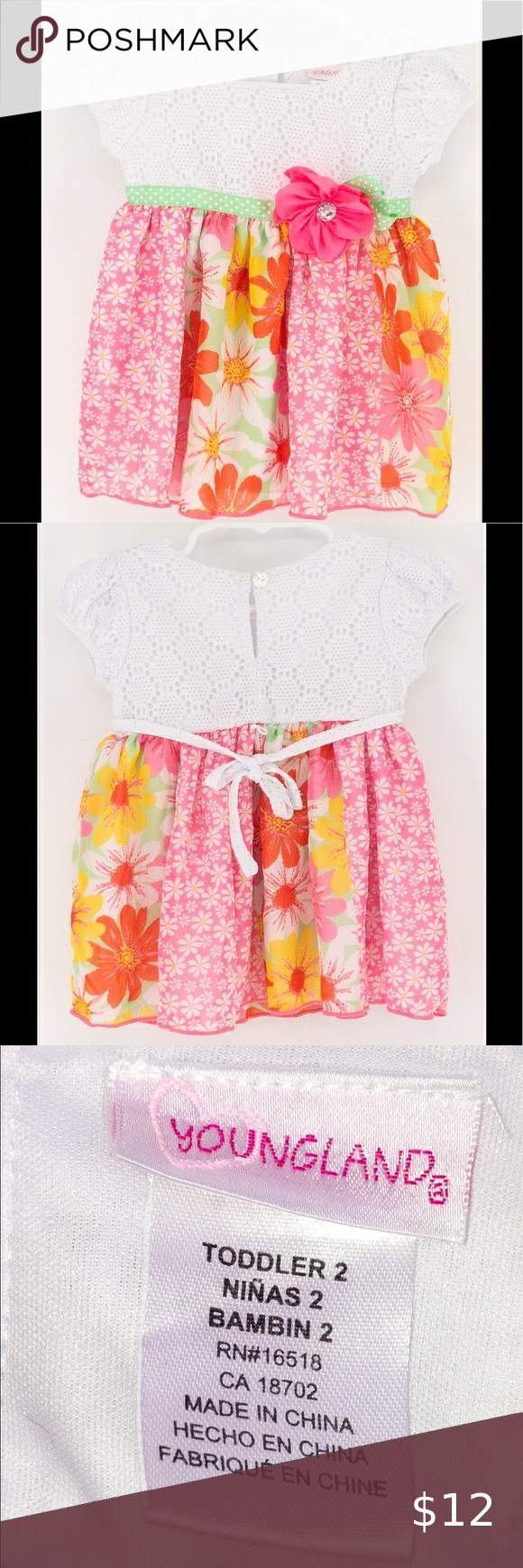 Youngland pink and white floral dress Youngland pink and white floral dress Size: 4T Youngland Dresses Casual