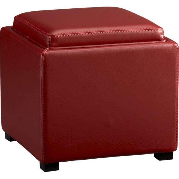 149 Stow Red 17 5 Leather Storage Ottoman In Ottomans Cubes Crate And Barrel Stow A Leather Storage Ottoman Storage Ottoman Coffee Table Storage Ottoman