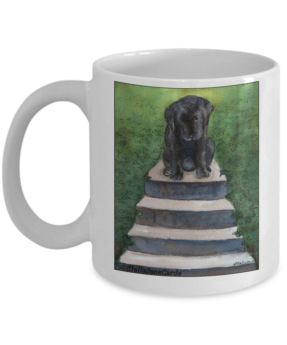 Cute Black Lab  Puppy Dog Large Coffee Mug Labrador
