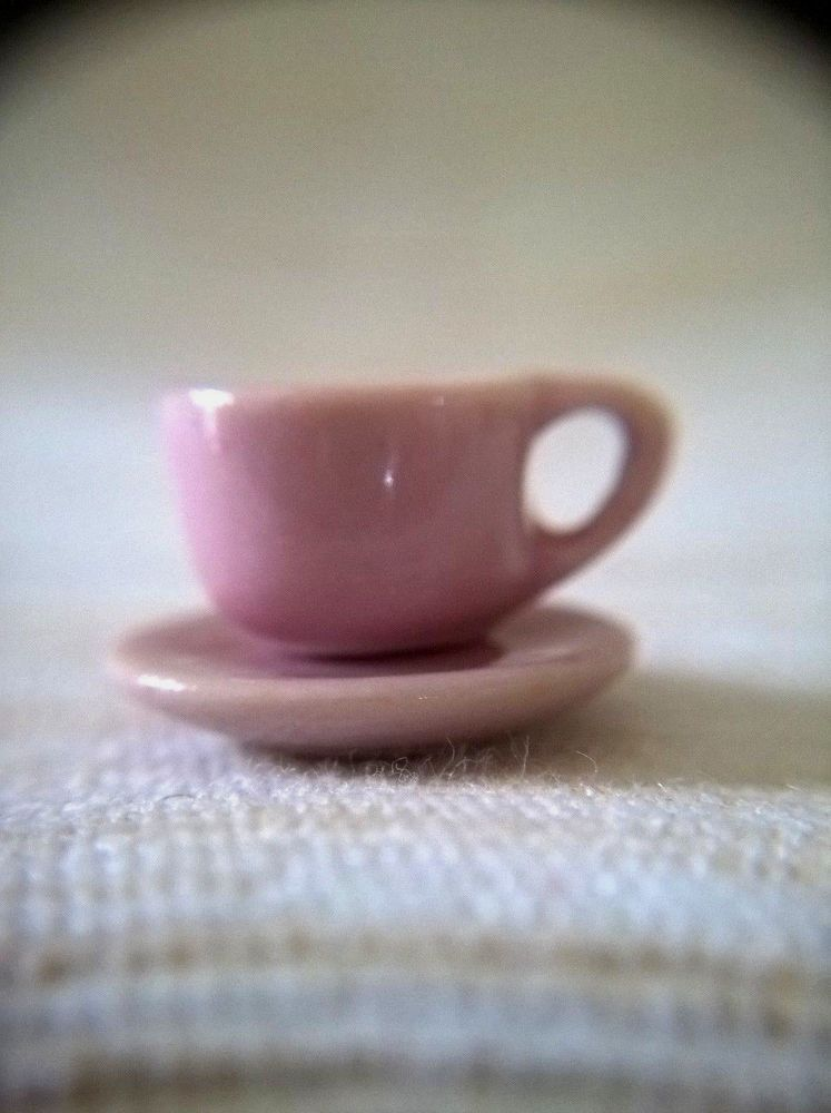 10 Pink Coffee Mugs Ceramic Dollhouse Miniatures  Kitchenware Food