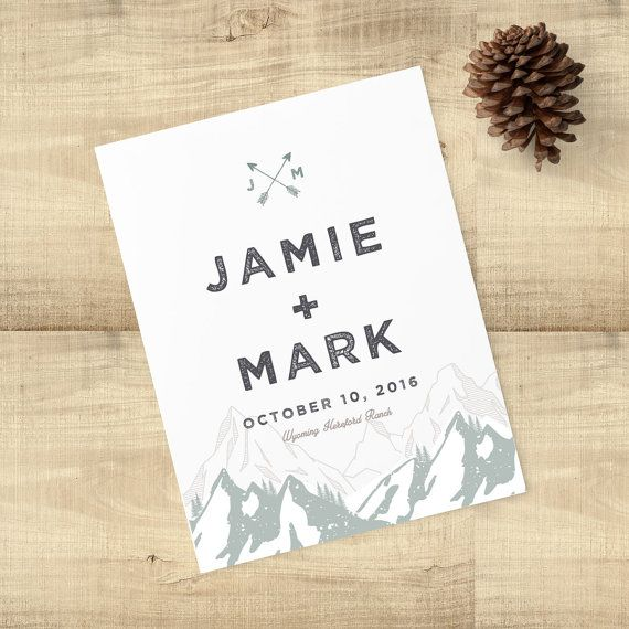 "Mountain Range Rustic sage save the date, custom monogram, pine trees, ""Forest Rustic"", SAMPLE ONLY"
