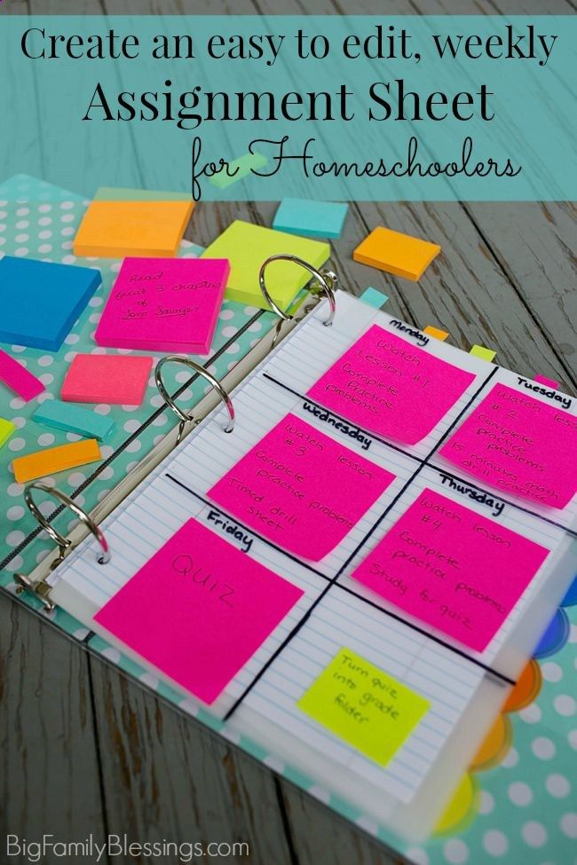 Create an easy to edit weekly assignment sheet for Homeschoolers. What a great idea to place the weeks assignments separately for each subject ON the divider for the subject using Post-it® Notes!- Big Family Blessings
