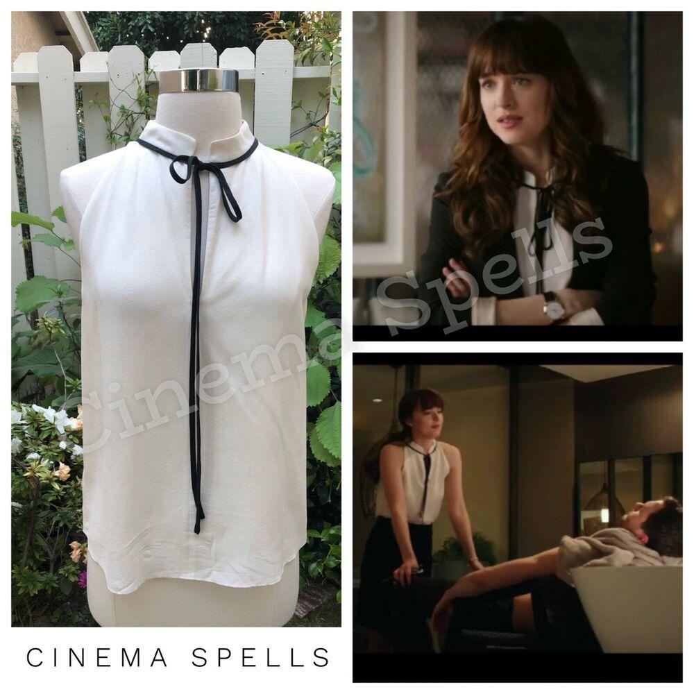 Aso Anastasia Steele Fifty Shades Ivory Tie Neck Blouse Sample Top Can Fit S L Looks Femininos Looks Sociais Looks Estilosos