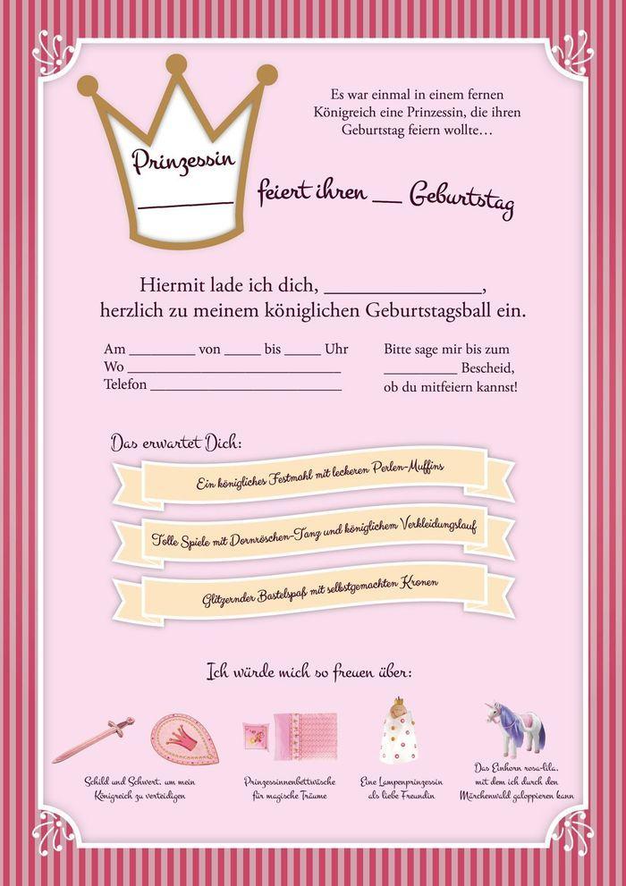 Einladung Kindergeburtstag Prinzessin Vorlagen