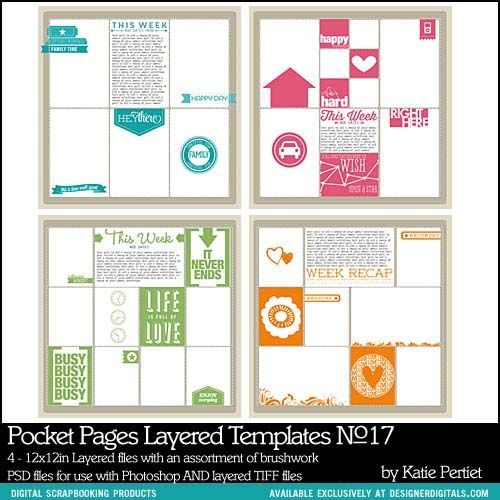 Pocket Pages Layered Templates No 17 - Digital Scrapbooking - project recap template