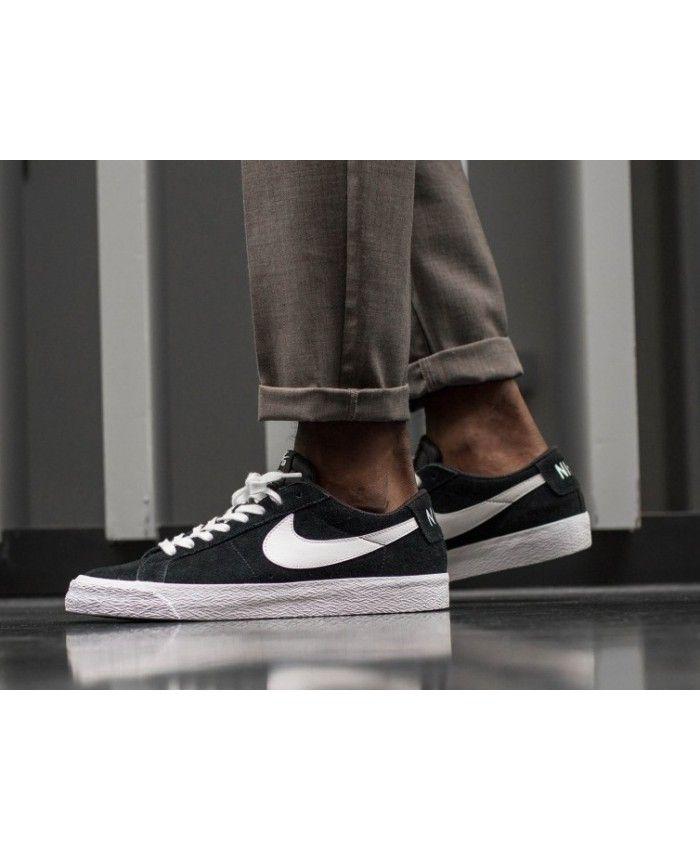 Nike SB Blazer Zoom Homme Noir Blanc | Nike blazer, Nike blazer ...