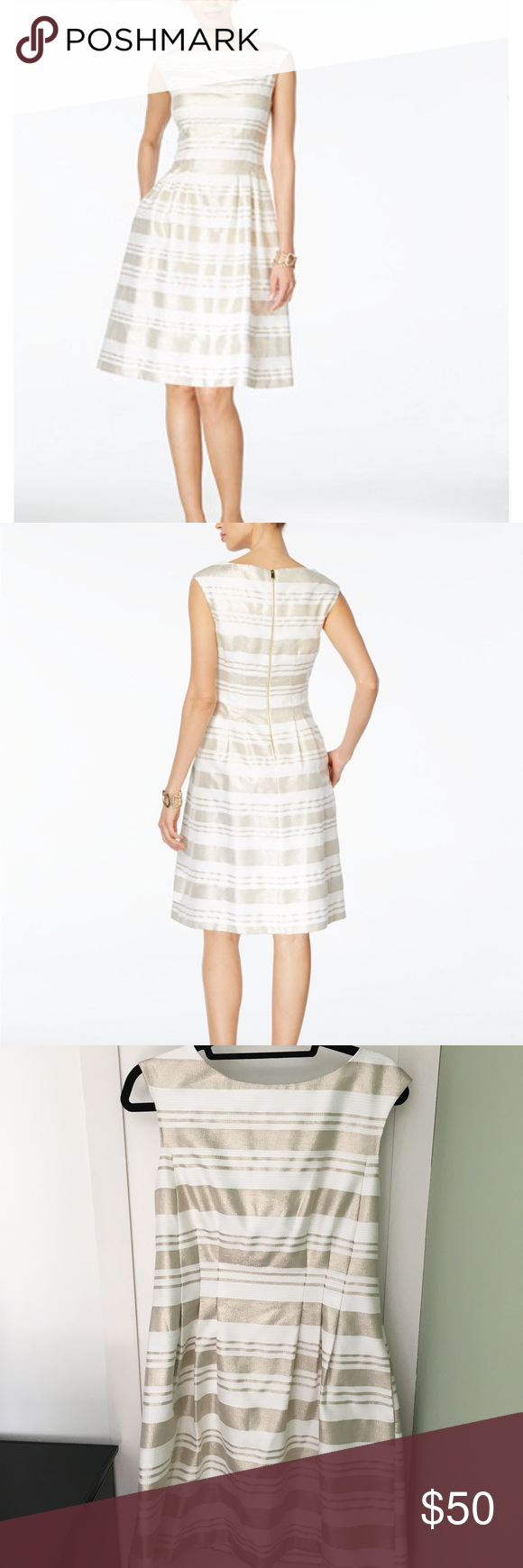 Vince Camuto Gold And White Strip Dress Stripped Dress Dresses Fashion [ 1740 x 580 Pixel ]