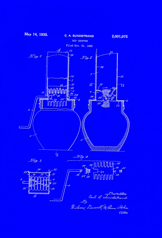 Nut chopper patent dated may kitchen patent art