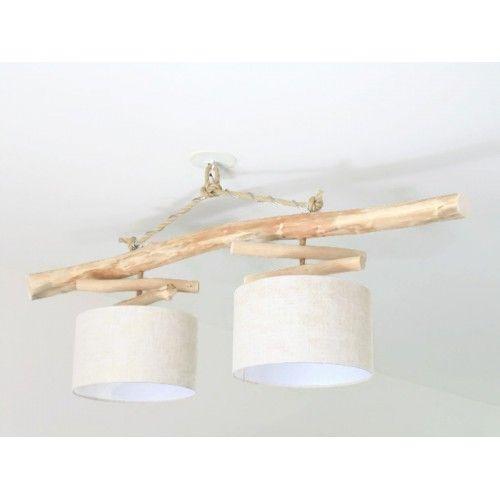 lustre plafonnier en bois flott abat jour lin 30 cm. Black Bedroom Furniture Sets. Home Design Ideas