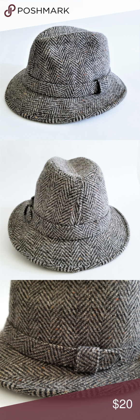 61b4299259db1 Pendleton Wool Tweed Gray Fedora Hat Pendleton Wool Tweed Gray Fedora Hat  100% virgin wool