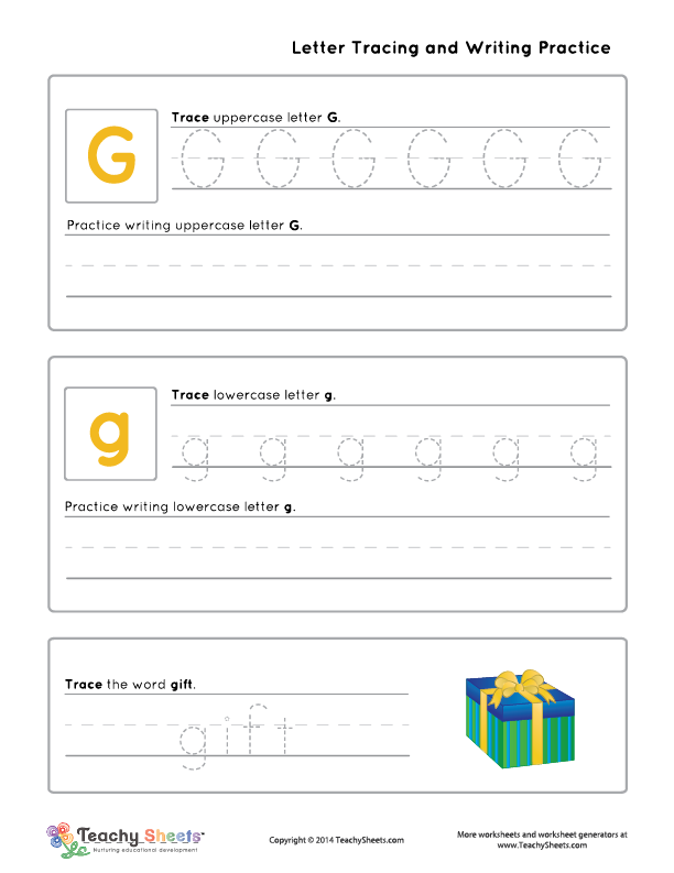 Letter G g is for t Letter G g tracing and writing practice