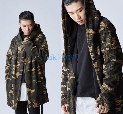2484b930b0d51 New Design Men Mid Long Trench Coat Camo Loose Outwear Hooded Duster Coat  Jacket