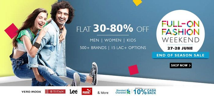 5e1302c1cd7 Full-On Fashion Weekend sales at Snapdeal - Flat 30% to 80% discounts on  Apparels