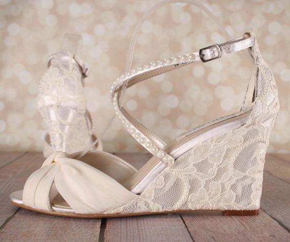 Ivory Wedding Shoes Lace Wedge By EllieWrenWeddingShoe