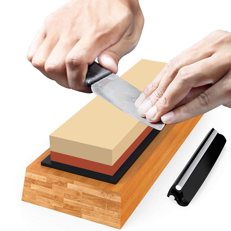 Superior Sharpening Stone Knife Sharpener Best Japanese Whetstone 1000 6000 Grit Waterstone Kit With Nonslip Bamboo Knife Sharpening Sharpening Stone Sharpener