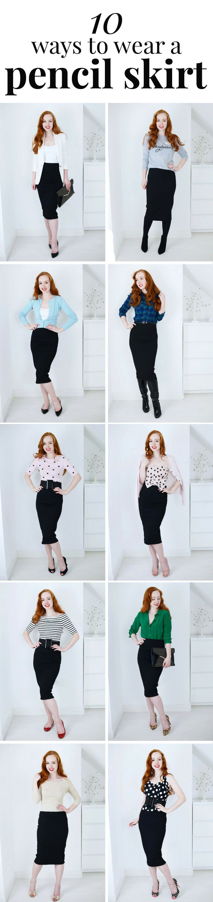 b9e1945416 10 ways to wear a pencil skirt ~ it's kind of a midi skirt...! I love pencil  skirts so I find this picrure to be really useful advice ☺