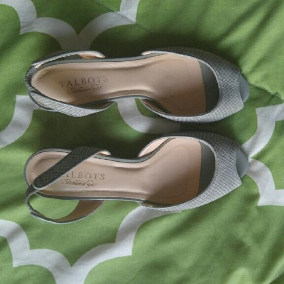 "TALBOTS WEDGE SHOES Talbots small wedge shoes, open toes, about 1 1/2"" high, Size 5.5B . Talbots Shoes"