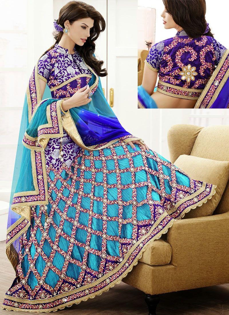 Beautiful Blue Lehenga with Unique Design great for a wedding event ...