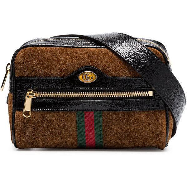 c4ad81b598e Gucci Brown Ophidia small suede belt bag (£760) ❤ liked on Polyvore  featuring bags