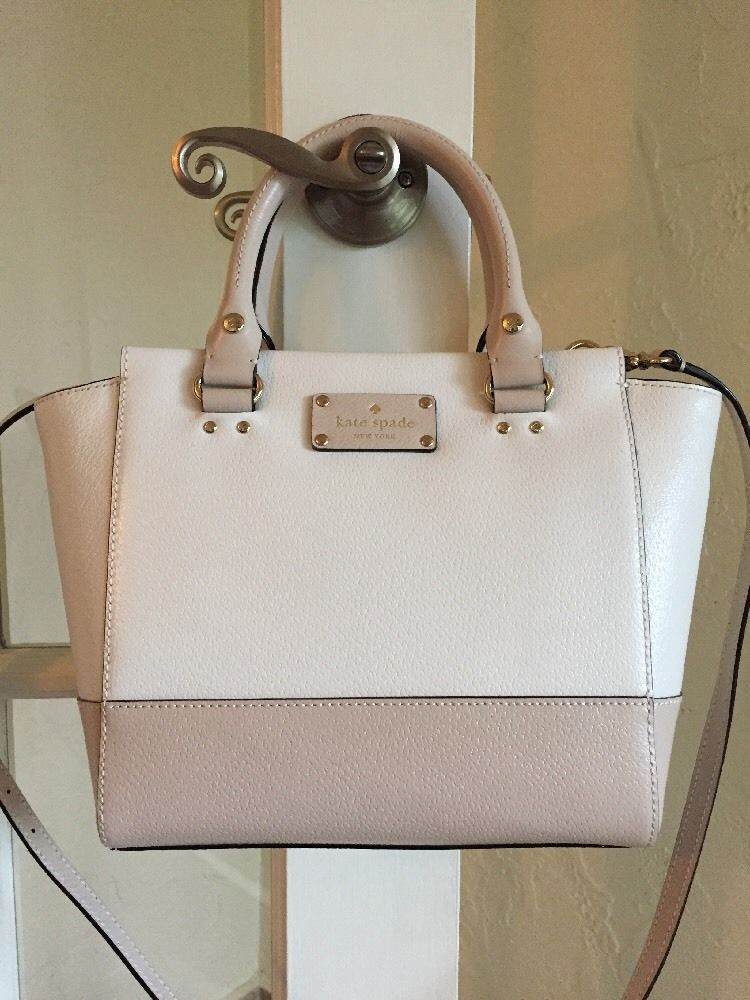 cd33e4efaae0 Kate Spade Wellesley Small Camryn Satchel Cream Pebble Two Tone Leather    eBay