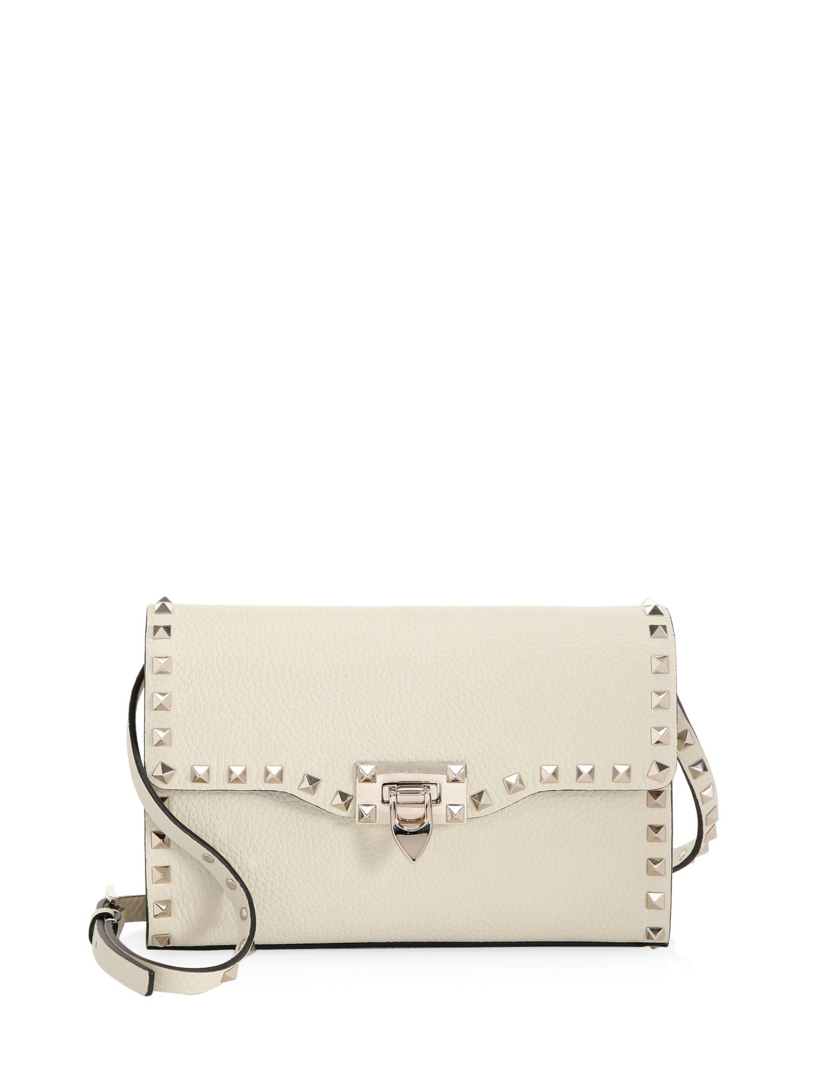 Embroidered Spike.It Small Shoulder Bag in Ivory Studded Calf Valentino