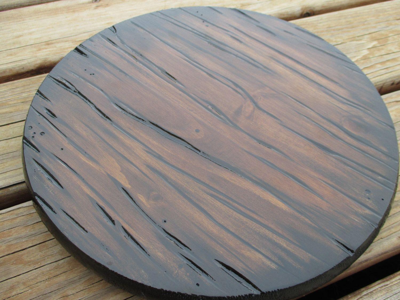 12 Carved Wood Lazy Susan Handmade Rustic