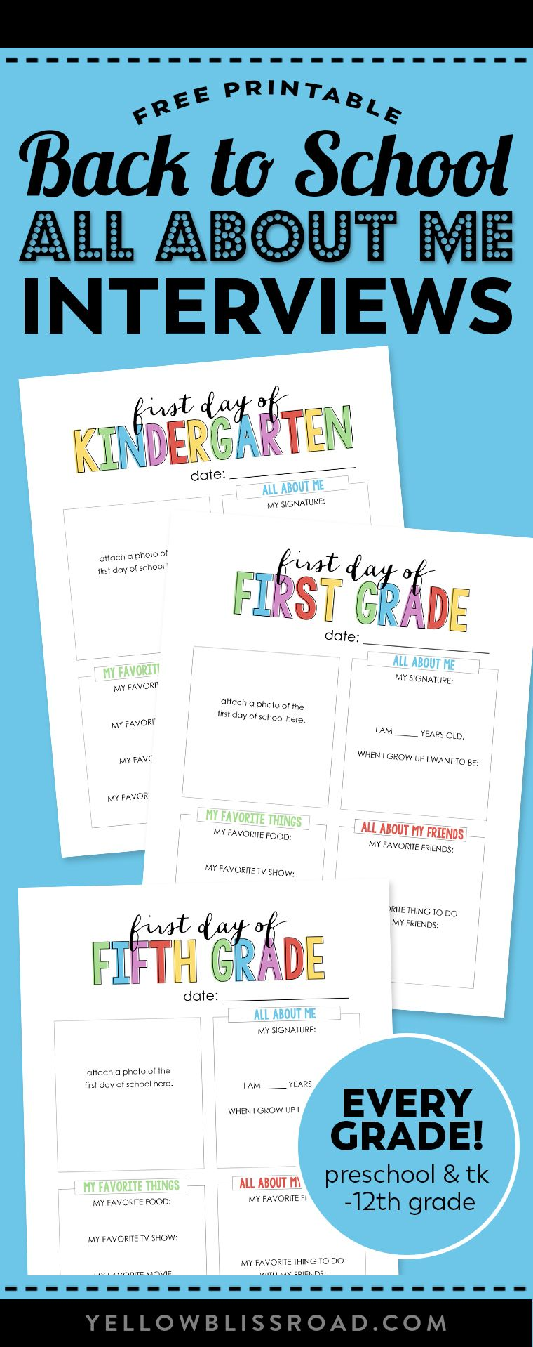 """Back to School """"All About Me"""" Free Printable High school"""