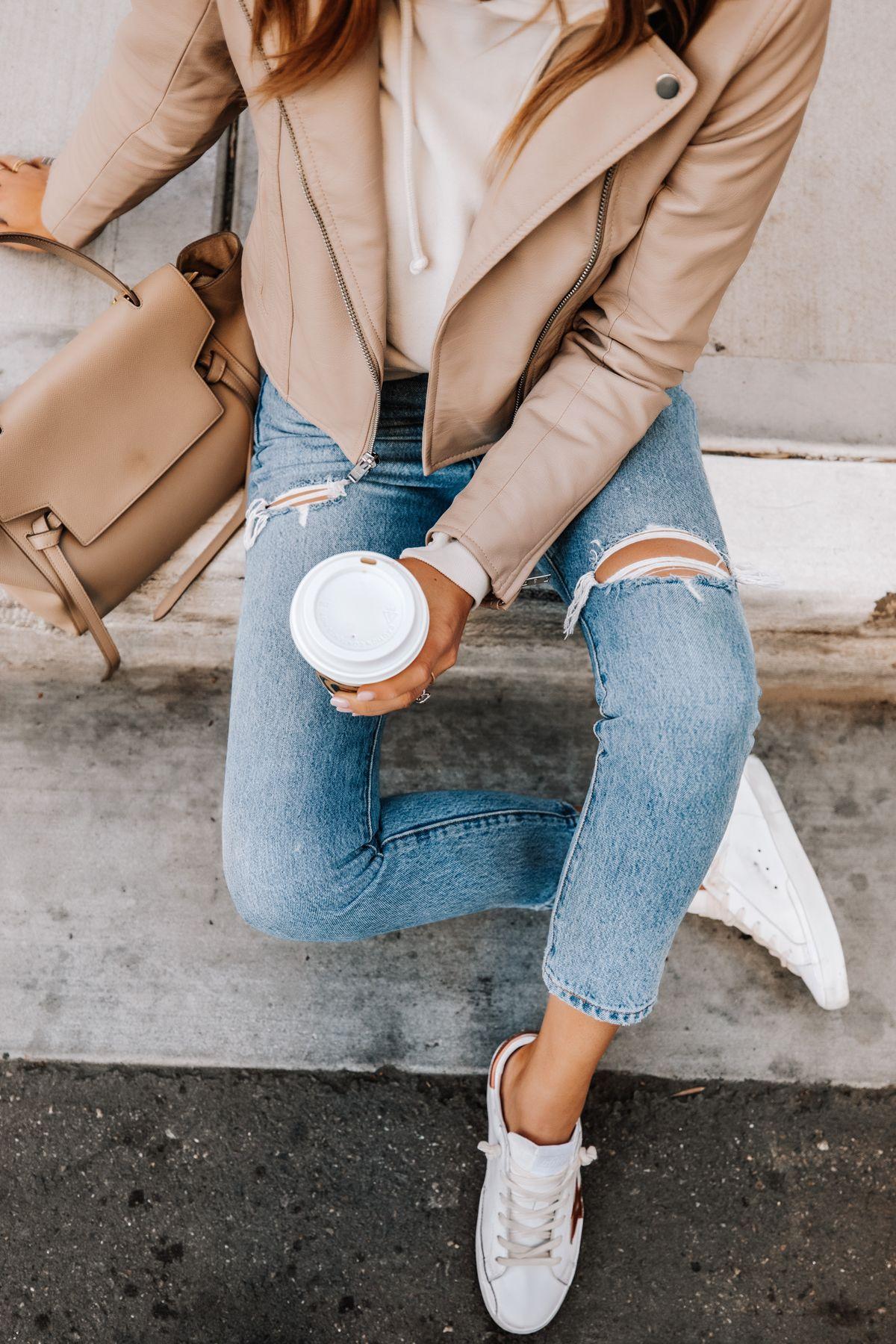 Fashion Jackson Wearing Abercrombie Tan Leather Jacket Beige Hoodie Levis Rip In 2021 Beige Leather Jacket Outfit Tan Leather Jacket Outfit White Leather Jacket Outfit [ 1800 x 1200 Pixel ]