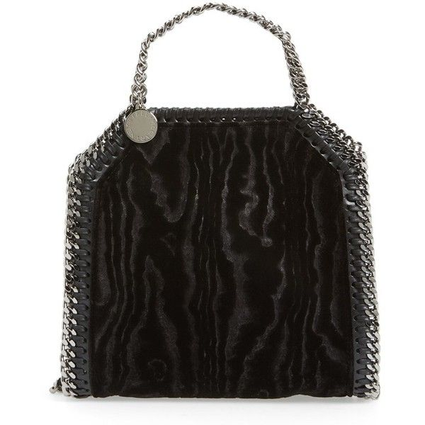 Women's Stella Mccartney 'Tiny Falabella - Velvet Moire' Tote (£645) ❤ liked on Polyvore featuring bags, handbags, tote bags, black velvet, stella mccartney, stella mccartney handbags, velvet handbags, print handbags and stella mccartney purse