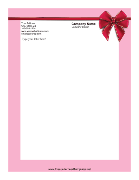 This printable Valentines Day letterhead has a pink border and a