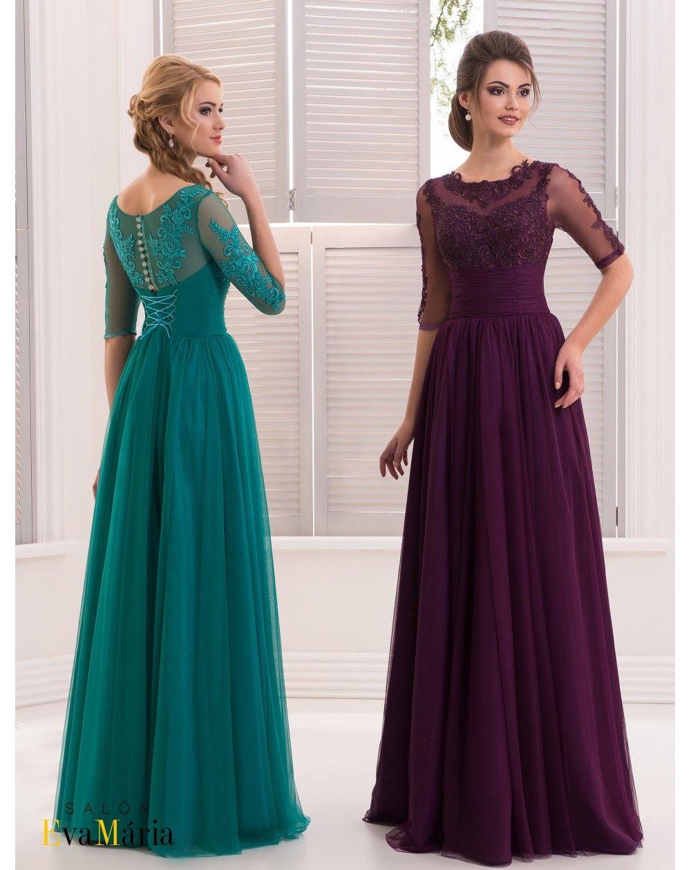 Luxusné spoločenské šaty s čipkovaným vrškom a s 3 4 rukávom ... 176c63d35b8