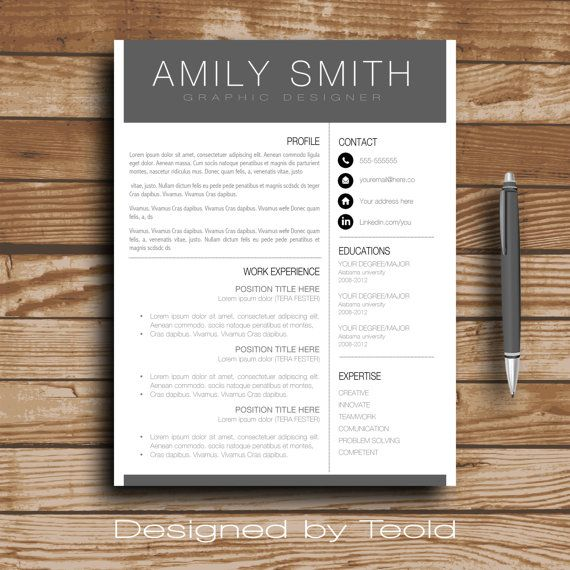 Modern Resume Template  Cv Template Cover Letter By Teolddesign