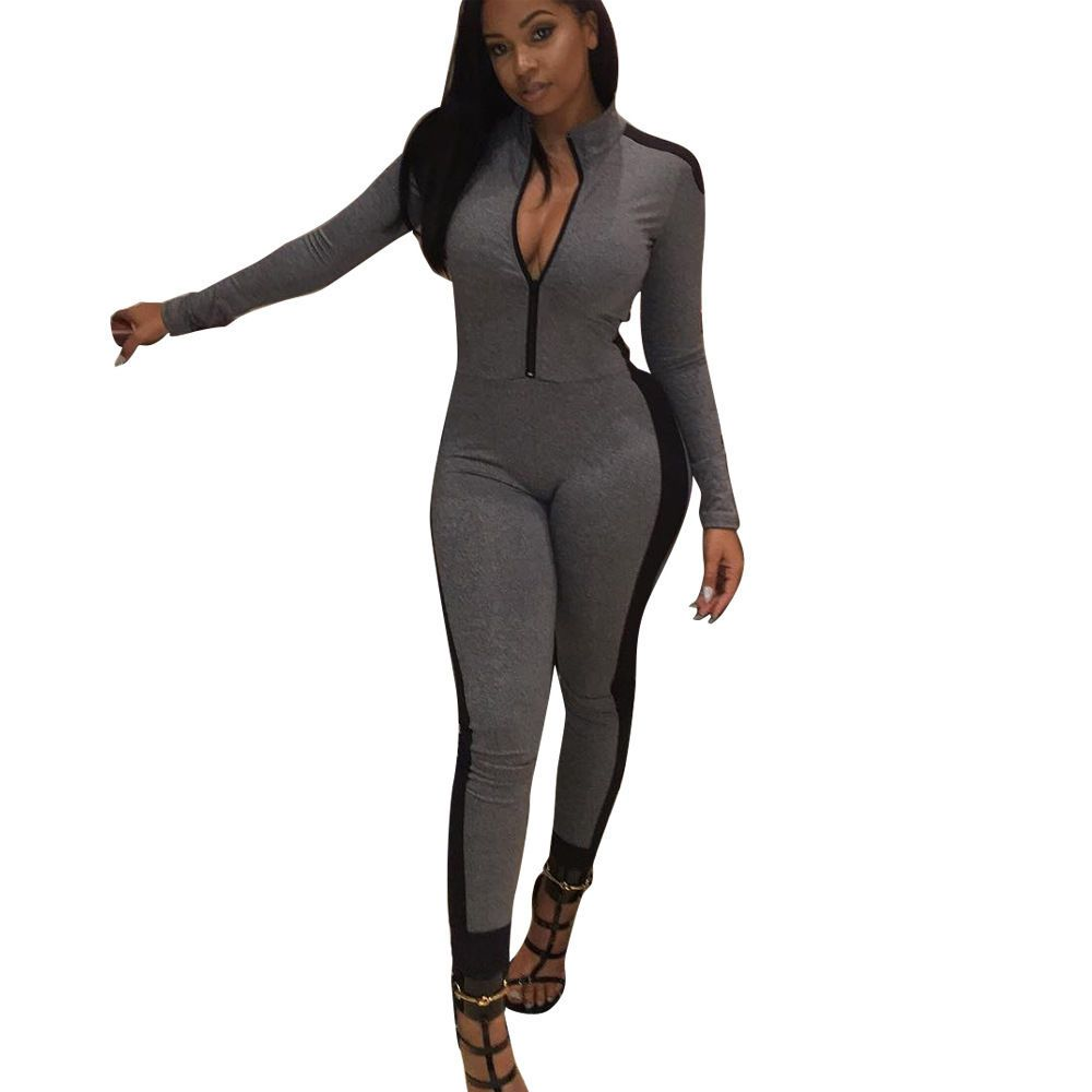 ee4ce6b151e9 Casual Women Bodycon Zipped Print Fashion Sport Style Jumpsuit Playsuit Club