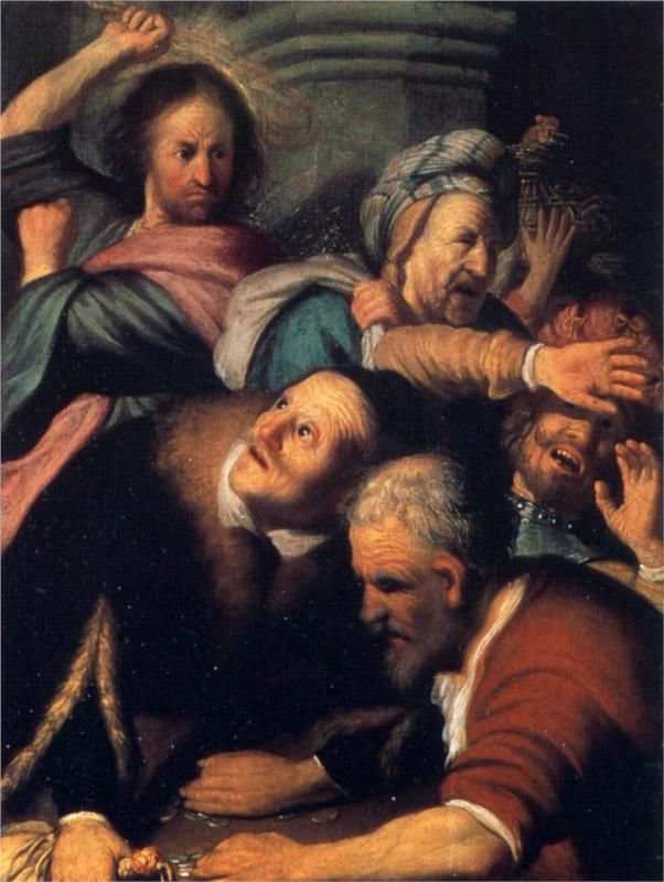 """""""Christ Driving the Moneychangers from the Temple"""" (1626), Rembrandt (Holanda) - Barroco"""