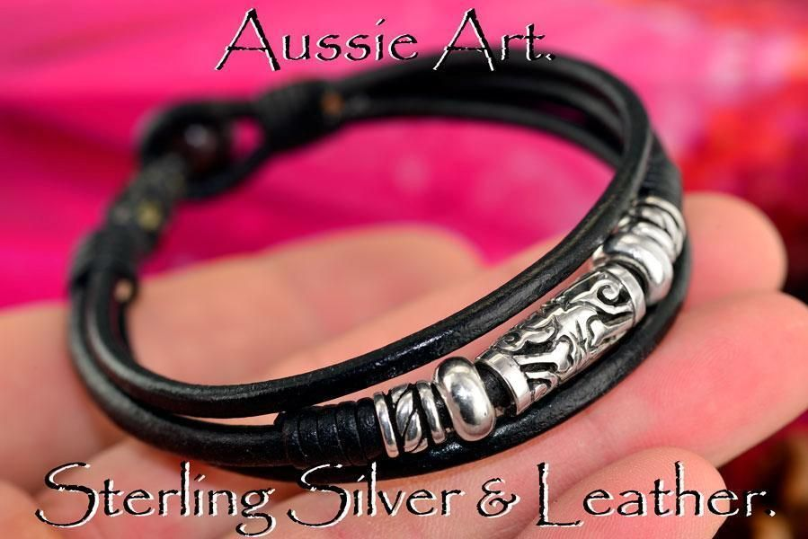 4B-076 Solid Sterling Silver & Leather New Wristband Bangle Men Bracelet.