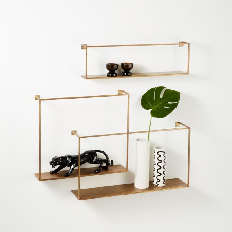 Antiqued Brass Floating Shelves Set Of 3 Floating Shelves Decor