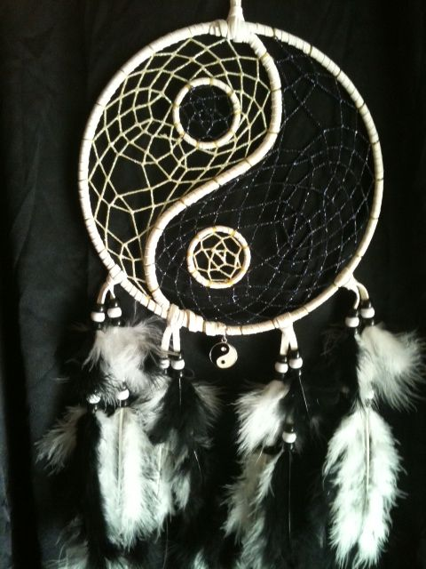 Purchase Dream Catchers Yin and Yang dream catcher White area webbing glows in the dark 25